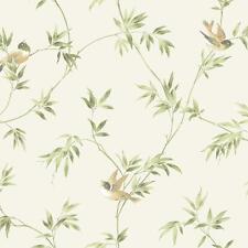 Wallpaper Songbird Vine Cute Birds Green Tan on Off White Background