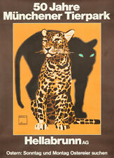 Original Vintage Poster Ludwig Hohlwein Zoo Munich Leopard Panther Animals Deco