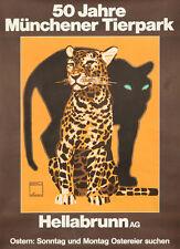 Original Vintage Poster Ludwig Hohlwein Zoo Munich Leopard Panther Tiere Deko
