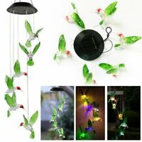 Color Changing Solar LED Hummingbird Wind Chimes Light Home Garden Decor Lamp