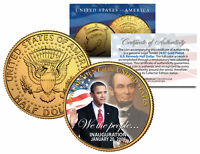 BARACK OBAMA w/Lincoln *Inauguration* 2009 JFK Half Dollar Coin 24K Gold Plated