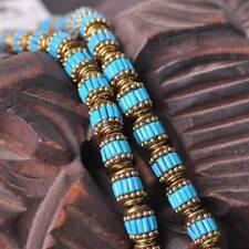 2pcs 10x12.5mm Handmade Nepalese Tibetan Turquoise Brass Loose Craft Beads 9#
