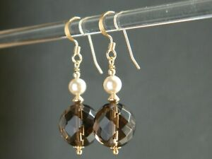 Vintage Smoky Brown Faceted Glass Beads, Faux Pearls & 14ct Rolled Gold Earrings