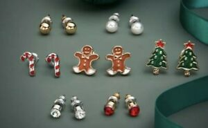 AVON Hollis Christmas Earring Set. Gingerbread Candy Canes Christmas Tree Pearls