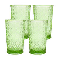 Cameo Double Old Fashioned Glass, Tumbler, cap 10 oz, Green, set of 4