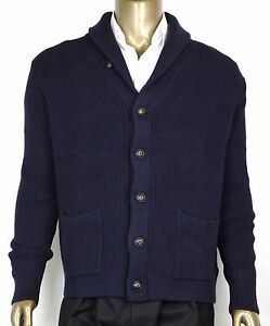 New Polo Ralph Lauren Men's Cotton Shawl Cardigan Sweater Navy, XL, 0186171 WGB