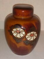 Unique Japan Chinese Porcelain Ginger Jar Vase Urn Brown Floral Daisies? 8 1/4""