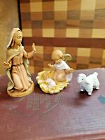 Fontanini Nativity Holy Set Mary  and Jesus w/Angel  little lamb Italy