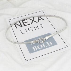 Gold Silver Metal Waist Belt Fashion Elastic Thin Waistband Dress Women's Belt