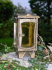 10B14 ANCIENNE LAMPE BOUGIE VEILLEUSE DE JARDIN BRONZE DESIGN CUBISTE DECORATION