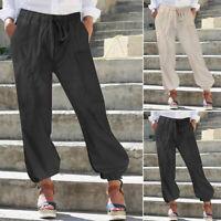 Mode Femme Pantalon Cargo Décontracté lâche Loisir Ample Taille elastique Plus