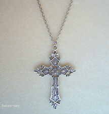 "Large Gothic Cross 32"" Long Chain Necklace in Gift Bag"