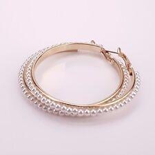 55mm 1 Pair Big Round Loop Circle Gold Imitation Pearl Hoop Earrings Elegant USA