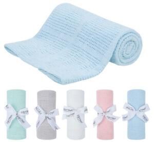 New Baby Soft Cellular Blanket 100% Cotton Pram Cot Moses Basket Wrap Gift idea