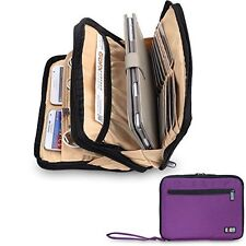 Multi Organiser Carry Bag iPad, Tablets, Hard Drives Portable Pouch Bag - Purple