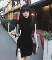 Vintage Gothic Lolita Slim Velvet Black Cool Japanese Harajuku Cheongsam Dress