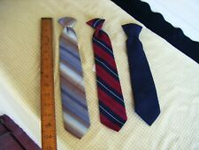 3 Vintage Satin Ties clip Tie 8-12 Youth Men Boys Dress up Casual Accessories