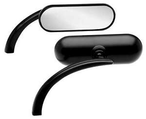 Arlen Ness Micro Black Mini Oval Left Side Mirror Harley or Metric EACH New