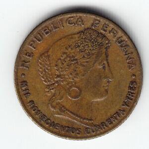 PERU 5 centavos 1943 KM213.2a.1 Brass 3-year type MUCH ABOVE AVERAGE toned RARE!