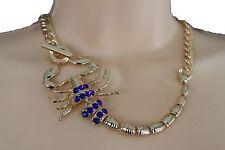 Women Gold Metal Scorpion Fashion Choker Short Necklace Blue Color Rhinestones