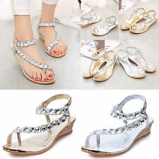 Women Sandals Flats Platform Wedge Diamante Studded Flip On Flops Toe Shoes new