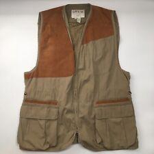 Orvis Mens XXL Clays Shooting Vest Hunting Fishing Adjustable Khaki Suede EUC