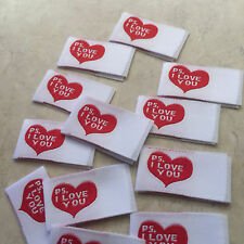 """""""P.S. I Love You"""" Fabric sew in tags for handmade crafts - One dozen"""