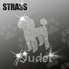 """Strass Steine Sticker Applikation Hund """"Pudel"""" Bügelbild, HotFix, ca. 15x20cm"""