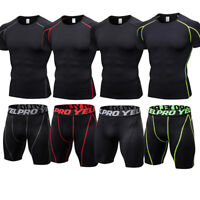 Men's Athletic Gym Compression Shirt Shorts Set Running Training Bottoms Wicking