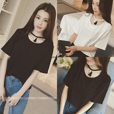 New Korean Women Summer Loose Casual Solid Slim Short Sleeve Top Blouse T Shirt