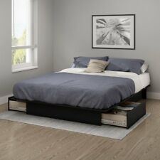 Black Queen or Full Size Platform Bed Frame with Storage Drawers no Box Spring