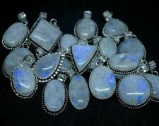 25pcs Pendant Rainbow Fire Moonstone Gemstones 925 Sterling Silver Plated Wh-15