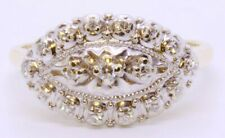 Vintage Stylecrest 14K Solid 2-Tone Yellow & White Gold Diamond Cluster Ring s 6