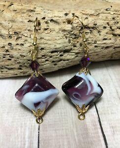 Handmade Purple Lamp Work Gold Earrings W/Amethyst Swarovski Elements USA