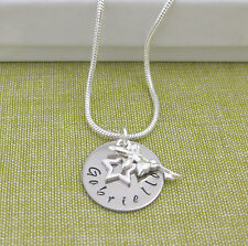 Personalized Child's Name Necklace Fairy Angel & Star Charm Snake Chain
