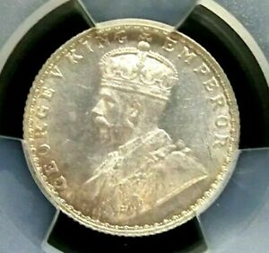 PCGS MS64 Gold Shield-India/British 1928(B) George V Silver 1/4 Rupee Choice BU