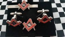 Saluting Soldier in poppy SqC Cufflink / Tieslide/ lapel pin set, Masonic craft