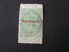 "**SAMOA, SCOTT # 157, 5/- VALUE GREEN 1932 NZ POSTAL-FISCAL OVPT ""SAMOA"" USED"