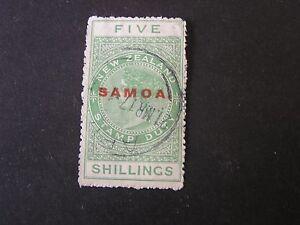 """**SAMOA, SCOTT # 157, 5/- VALUE GREEN 1932 NZ POSTAL-FISCAL OVPT """"SAMOA"""" USED"""