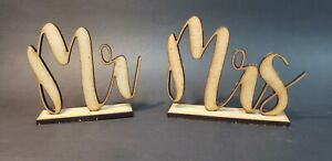 Mr and Mrs Wedding Table Markers in natural wood or acrylic laser cut