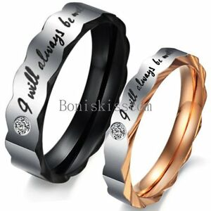 """"""" I Will Always Be with You """" Couples Love Engagement Promise Ring Wedding Band"""