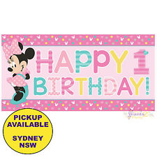 MINNIE MOUSE 1ST BIRTHDAY PARTY SUPPLIES GIANT PLASTIC BANNER WALL DECORATIONS