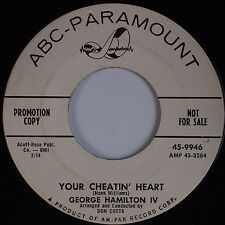 GEORGE HAMILTON IV: Your Cheatin' Heart / When Will I ABC DJ PROMO 45 Country