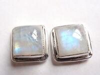 Moonstone Square 925 Sterling Silver Stud Earrings