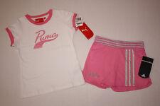NWT Girls Puma White Shirt & Adidas Shorts Lot Sz6X