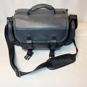 SONY DSLR SLR Camera Camcorder Bag Padded Black Faux Leather Multi Compartments