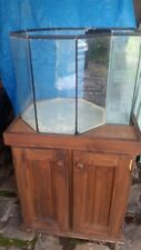 Octagonal fish tank with cupboard stand,  filter and accessories