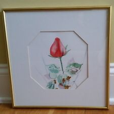 Peggie Mead Koroncey signed original floral rose watercolor painting MINT!
