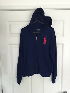 BOYS POLO RALPH LAUREN BLUE HOODIE  AGE 10-12 YEARS IN VERY GOOD CONDITION