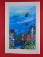 POTTERY TILE Hand Painted clay SPAIN Fish Coral Under the Sea Nautical SIGNED